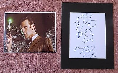 Dr. Who #11 Matt Smith Rare Original Hand Drawn Self Portrait Signed Sketch  Coa