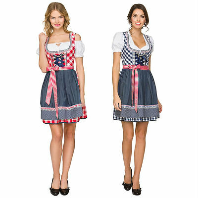 Womens German Traditional Dirndl Dress Oktoberfest Beer Costume Bavarian Outfit