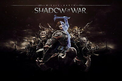 "012 Middle Earth Shadow of War - Army Orc Fight Game 21""x14"" Poster"