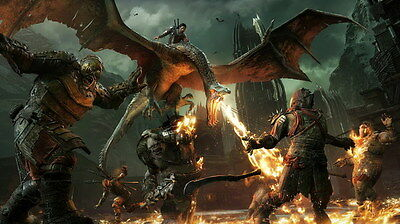 "011 Middle Earth Shadow of War - Army Orc Fight Game 24""x14"" Poster"