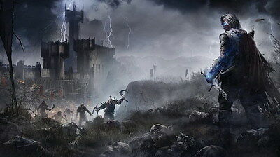 "006 Middle Earth Shadow of War - Army Orc Fight Game 24""x14"" Poster"