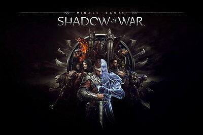 "004 Middle Earth Shadow of War - Army Orc Fight Game 21""x14"" Poster"