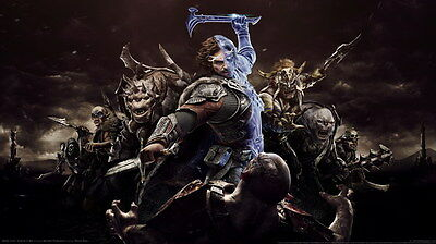 "002 Middle Earth Shadow of War - Army Orc Fight Game 42""x24"" Poster"