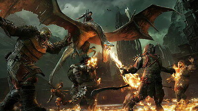 "011 Middle Earth Shadow of War - Army Orc Fight Game 42""x24"" Poster"