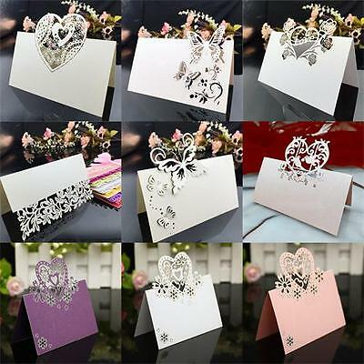 10X Heart Wedding Name Place Cards For Wine Glass Laser Cut On Pearlescent Card