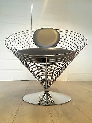 Verner Panton Mid Century Modern Black Leather Wire Cone Swivel Desk Chair