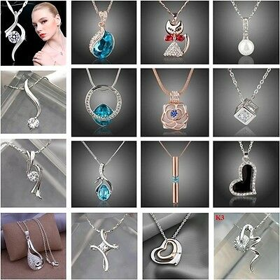 UK Womens Fashion 925Silver Jewelry Pendant Necklace Silver Chain +box BEST GIFT
