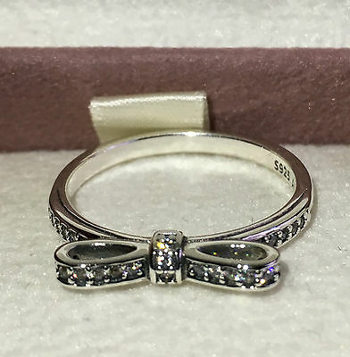 Pandora Delicate Bow Ring 190906Cz, S925 Ale, Size 58 Sterling Silver With Pouch