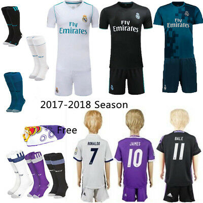 2017/18 White Football Kits Soccer Short Sleeve Kids Boy Team Jersey Suits+Socks