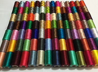 100 x Large Art Silk Rayon 100% Sewing Embroidery Threads Vibrant Solid Colours