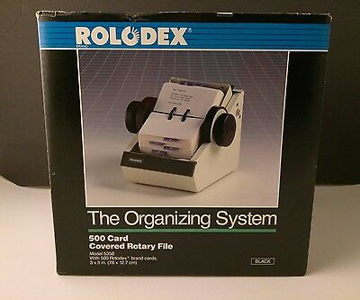 New Vintage Rolodex 500 Card Covered Rotary File Black Metal 2 1/4 x 4 w Key NOS