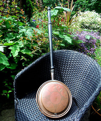 GEORGIAN COPPER WARMING PAN-WRIGGLE ROSE DECORATION-TURNED HANDLE c1800**