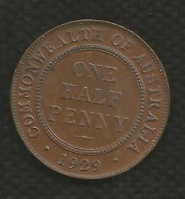 1929 Half Penny - George V - With Mint Bloom - About Uncirculated