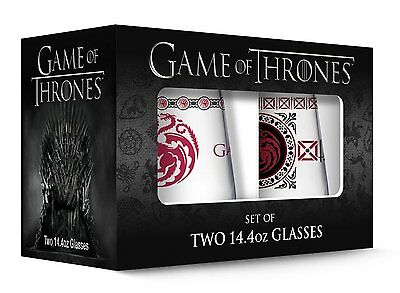 Game of Thrones Targaryen Stemless Wine Glass with Gold Rim Set of 2, Clear