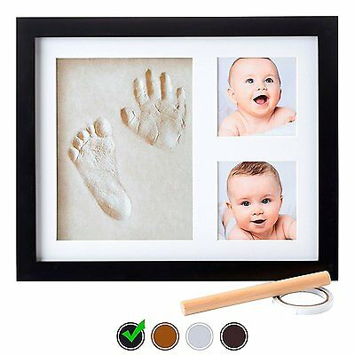 Little Hippo Baby Footprint & Handprint Kit - NO MOLD FRAME! Baby Picture Frame
