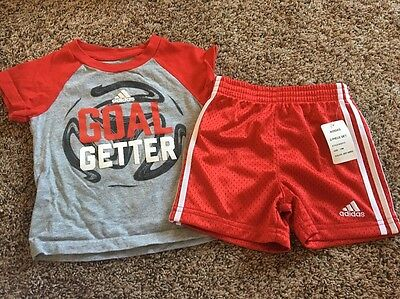 Adidas 12 Month Baby Boys 2 Piece Summer Shirt And Short Set. Red