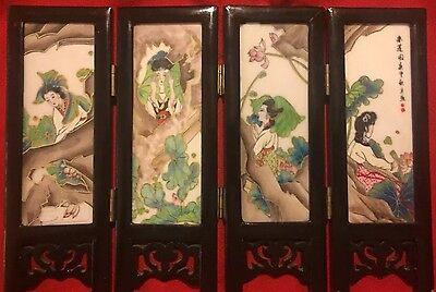 Lovely Japanese Hand Painted Porcelain Screen Vintage Asian Geishas & Animals