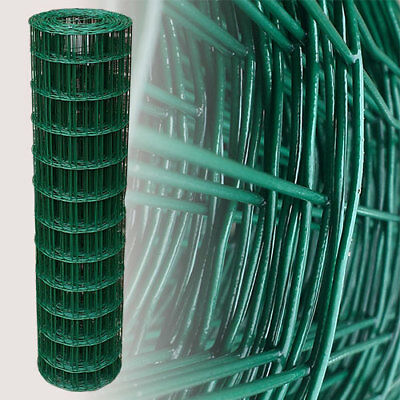 PVC Coated Wire Mesh Fencing 25m 120cm 82ft 4ft Green Galvanised Garden Fence