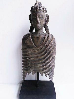 Buddha On Stand Hand Carved Wood Statue Stone Wash Finish Bali Balinese 50Cm