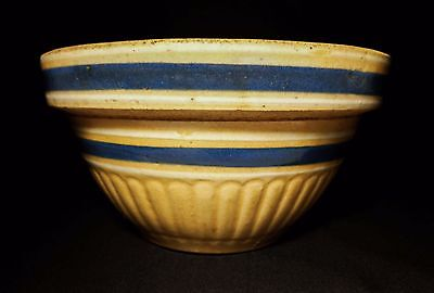 Antique American Yellow Ware Double Banded Blue/white Stripe Ceramic Mixing Bowl