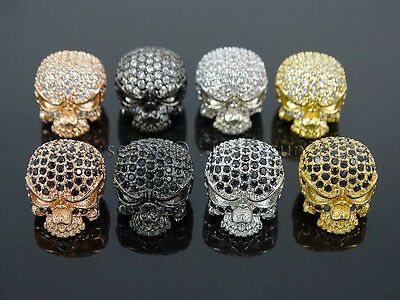 Zircon Gemstones Pave Ugly Ghost Head Bracelet Connector Charm Beads Silver Gold