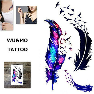 einmal tattoo feder vogel bunt temporary body tattoo flash. Black Bedroom Furniture Sets. Home Design Ideas