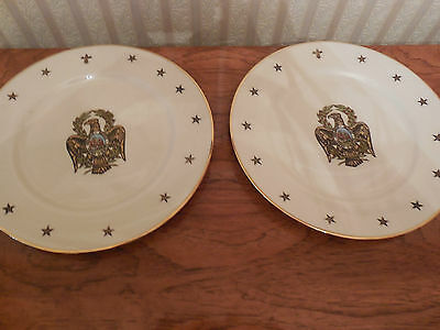 Set of 2 RARE HAND COLORED EAGLE  PLATES DELANO STUDIO