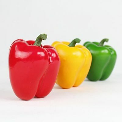 Best Artificial 10cm Weighted Bell Peppers Red Green Yellow Vegetable Fruit Home