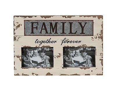 """Handmade Antique Family Together Forever Metal/Wood Chunky Photo Frame 10.25""""H"""