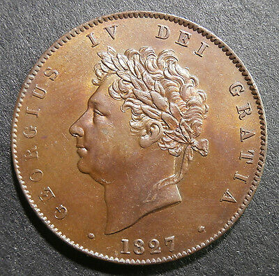 UK halfpenny 1827 mint state uncirculated - lustre rubbed on cheek (high point)