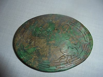 Antique spinach jade dragon embossed plaque