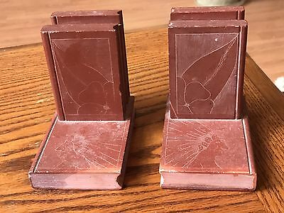 Vintage CARVED PIPESTONE BOOKENDS w ENGRAVED SIOUX INDIAN CHIEF ANTIQUE Rare