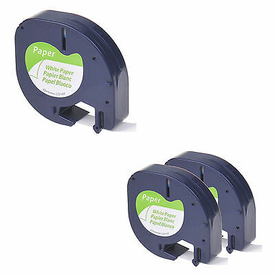 3 Pack for DYMO Letratag 91330 S0721510 Black on White 12mm 4m Paper Label Tape