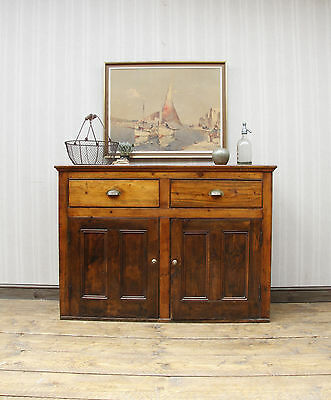 Antique Industrial Pine Sideboard Drawers, Old Rustic Tall Kitchen Sideboard