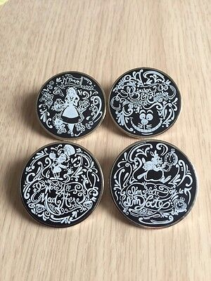 DISNEY PINS Alice in Wonderland BLACK & WHITE Chalkboard Sketch Set of 4 Pins-A