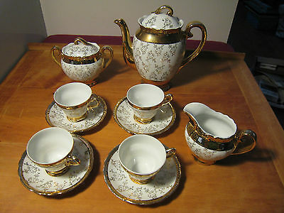 Vintage STERLING CHINA Japan 13 piece Tea Set  Service Gold Overlay with Flowers