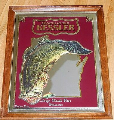 KESSLER Whiskey Mirror Sign - Large Mouth Bass (Wisconsin)