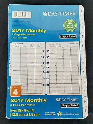 Day-Timer Monthly Planner Calendar Refill 2017 Two Page Per Month