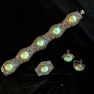 Ntique Chinese Set Silver,antique Chinese Turqouse Bracelet,pin, And Earrings
