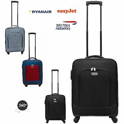 Ryanair 4 wheel Cabin Size Hand Luggage Bag Suitcase Expandable with lock label