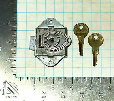 Vtg Antique Old Yale Latch Lock Set and 2 LL15 keys Boat Compartment Cabinet Box