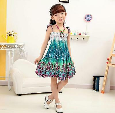 Girls Bohemian Sleeveless Summer Dress in 13 Styles  - 3-7 yrs - w/FREE NECKLACE