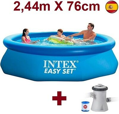 "PISCINA HINCHABLE DE PLASTICO DESMONTABLE INTEX 244cmX76cm 8""x30"" 2.44m EASY SE"