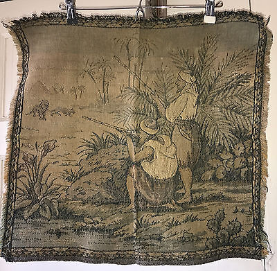 """Antique Vintage Square Tapestry Panel Hunters Lions Egypt 20"""" x 19"""""""