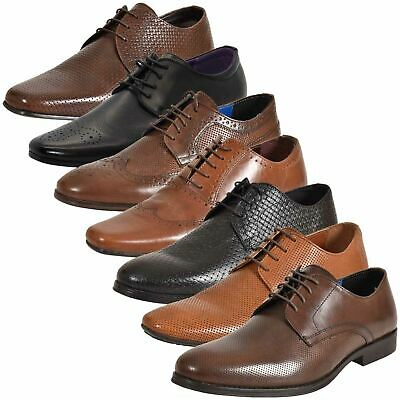 Mens Leather Lining Formal Shoes For Office Wedding Smart Work Brogue UK Style
