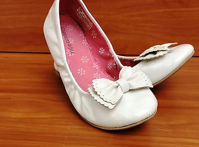 Christie & Jill White Bow Patent Leather Ballet Slip-on Flat Girls Shoes Sz 3