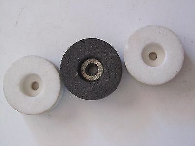 "3Pcs.NORTON Stone Straight Cup Grinding Wheel 1"" x 2-1/2"" x 3/8"" Mounting Hole"
