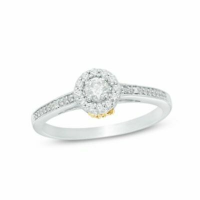 1/3 ct Natural Diamond Frame Flower Engagement Ring in 10K Two Tone Gold