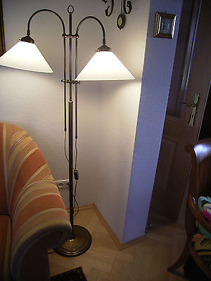 Lampe leselampe stehlampe stehleuchte 2 flg stahl messing for Leselampe stehlampe
