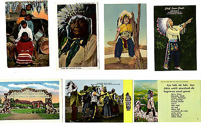 (7) Circa 1950-1980 Post Cards - American Indians Mixed Lot Unused  (7-26